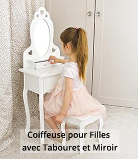 Coiffeuse pour Filles avec Tabouret et Miroir